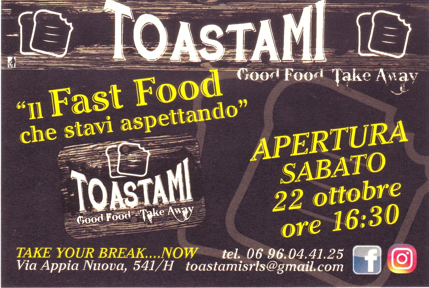 """ Il Fast Food che stavi aspettando "" tostami Good Food - Take Away"