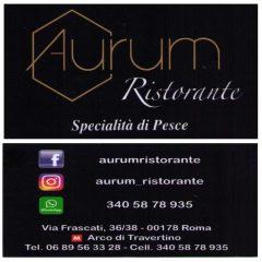 AURUM Ristorante Specialita'  di pesce  –  Via Frascati 36/38 ROMA  00178