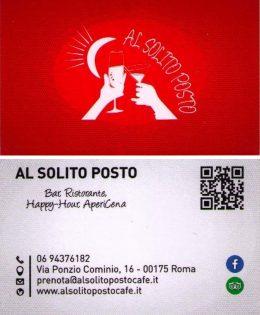 AL SOLITO POSTO BAR RISTORNATE HAPPY-HOUR APERICENA  VIA PONZIO COMINIO 16 00175 ROMA